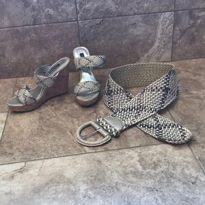 WHBM Size 8 Wedges & Matching Size S Belt